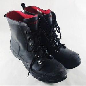 Lauren Ralph Lauren Black Rubber Combat Rain Boots
